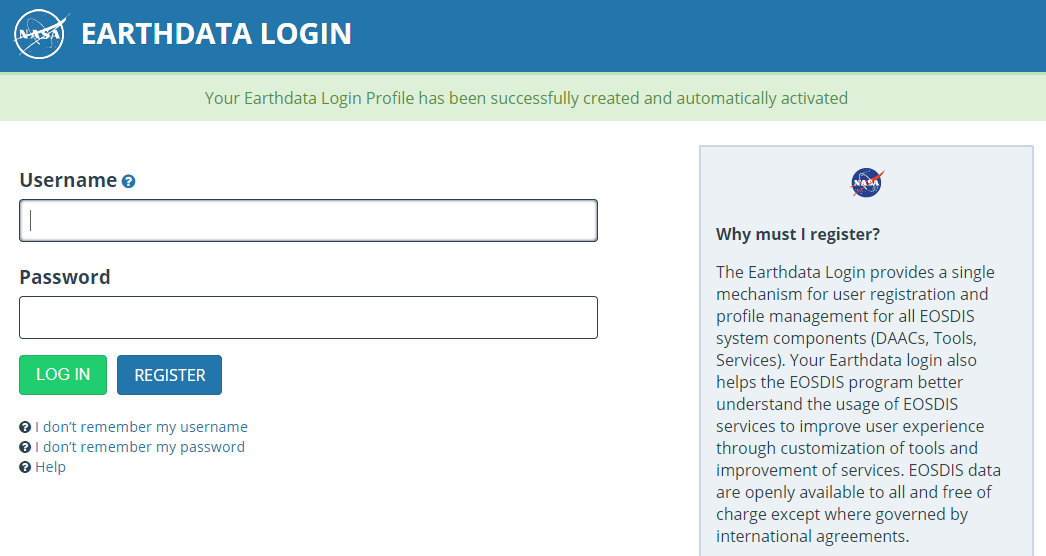 cara masuk earth data login