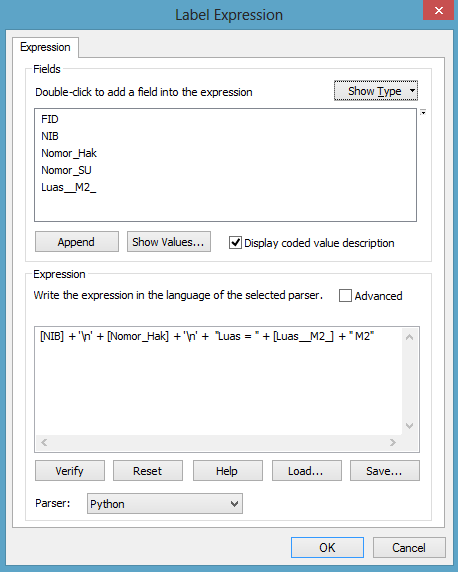 kotak dialog label expression arcgis