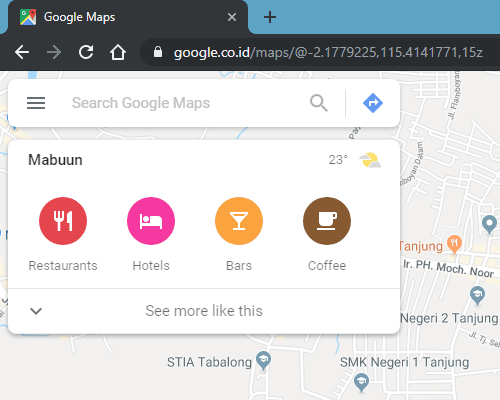 tampilan awal google maps laptop