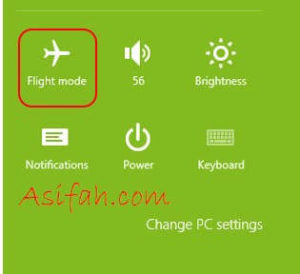 mematikan mode flight windows 8