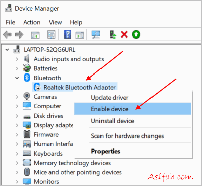 bluetooth pada device manager