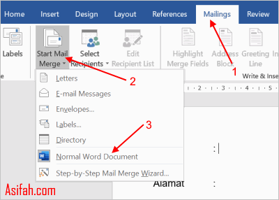 cara membuat mail merge di word