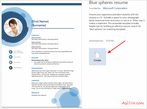 download blue sphere resume template