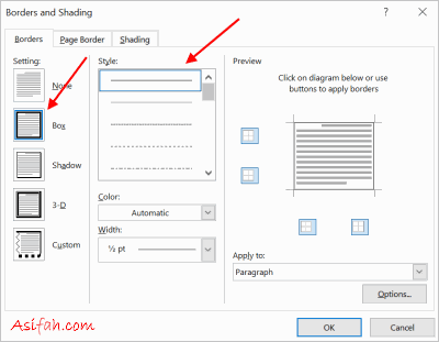 kotak dialog border and shadings