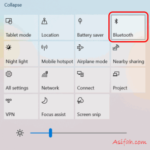 posisi tombol bluetooth windows 10