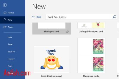 template thank you cards word
