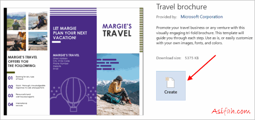 template travel brosur word