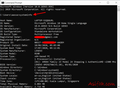 windows command prompt menampilkan system information